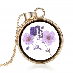 New Natural Real Dried Flower Resin Round Glass Floating Locket Pendant Necklace Purple flower