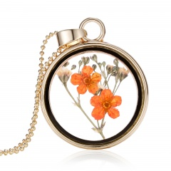 New Natural Real Dried Flower Resin Round Glass Floating Locket Pendant Necklace Orange flower