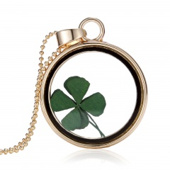 New Natural Real Dried Flower Resin Round Glass Floating Locket Pendant Necklace Lucky clover