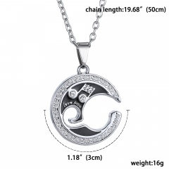 Fashion Cross Love Pendant Necklace Stainless Steel Chain Couple Jewelry Gift Music Note