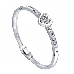 Fashion Silver Alloy with Rhinestone Bangle Braide Bracelet Jewelry Heart