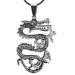 Fashion Silver Stainless Steel Pendant Bicycle Dragon Necklace Leather Chain Dragon