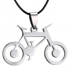 Fashion Silver Stainless Steel Pendant Bicycle Dragon Necklace Leather Chain Bicycle