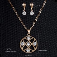 Gold Rhinestone Crystal Heart Necklace Earrings Ring Bridal Wedding Jewelry Set Crystal