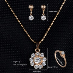 Gold Rhinestone Crystal Heart Necklace Earrings Ring Bridal Wedding Jewelry Set Charm