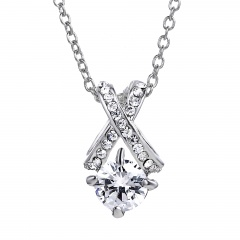 Fashion Women Crystal Zircon Heart Choker Pendant Necklace Chain Jewelry Crystal