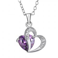 Fashion Women Crystal Zircon Heart Choker Pendant Necklace Chain Jewelry Amethyst heart