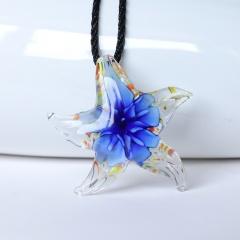 Women Murano Lampwork Glass Starfish Flower Inside Pendant Necklace Gift Blue