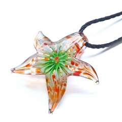 Fashion Glass Starfish Flower Inside Pendant Necklace Murano Lampwork Women Jewelry Party Green