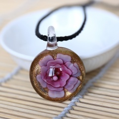 Round Flower Inside Lampwork Murano Glass Pendant Necklace Jewelry Pink