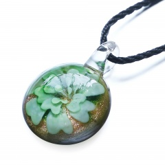 Round Flower Inside Lampwork Murano Glass Pendant Necklace Jewelry Green