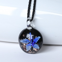 Fashion Round Flower Inside Lampwork Murano Glass Pendant Necklace Jewelry Blue