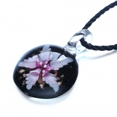 Fashion Round Flower Inside Lampwork Murano Glass Pendant Necklace Jewelry Pink