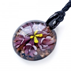 Fashion Glass Round Flower Inside Pendant Necklace Murano Lampwork Women Jewelry Party Purple
