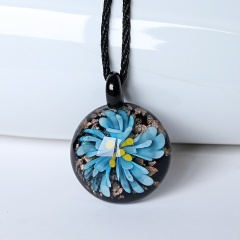 Fashion Glass Round Flower Inside Pendant Necklace Murano Lampwork Women Jewelry Party Blue