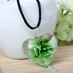 Fashion Heart Flower Inside Lampwork Murano Glass Pendant Necklace Jewelry Green