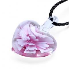Fashion Heart Flower Inside Lampwork Murano Glass Pendant Necklace Jewelry Pink