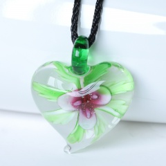 Fashion Heart Flower Inside Lampwork Murano Glass Pendant Necklace Jewelry Gift Pink Flower