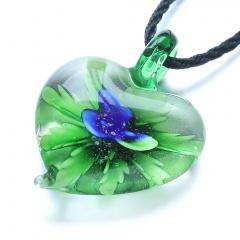 Fashion Heart Flower Inside Lampwork Murano Glass Pendant Necklace Jewelry Gift Blue Flower