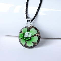New Women Round Lampwork Murano Glass Pendant Necklace Chain Charm Jewelry Gift Green