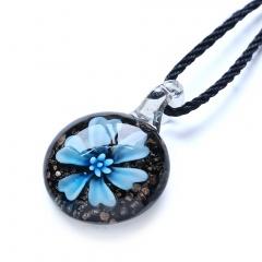 New Women Round Lampwork Murano Glass Pendant Necklace Chain Charm Jewelry Gift Sky Blue