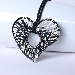New Women Hollow Heart Lampwork Murano Glass Pendant Necklace Chain Charm Jewelry Gift Black