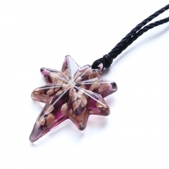 New Women Eight-pointed Star Lampwork Murano Glass Pendant Necklace Chain Charm Jewelry Gift Pink