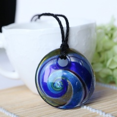 New Women Round Lampwork Murano Glass Pendant Necklace Chain Charm Jewelry Holiday Gift Blue
