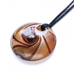 New Women Round Lampwork Murano Glass Pendant Necklace Chain Charm Jewelry Holiday Gift Brown
