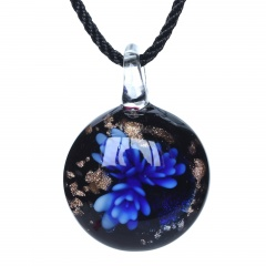 Fashion Women Handmade Lampwork Murano Glass Flower Circle Pendant Necklace Blue