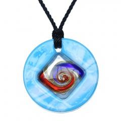 Fashion Lampwork Murano Glass Circle Flower Necklace Pendant Geometric Jewelry Hot Blue