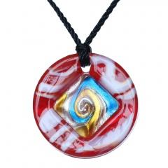 Fashion Lampwork Murano Glass Circle Flower Necklace Pendant Geometric Jewelry Hot Red