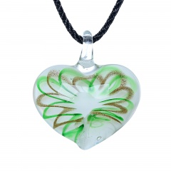 Fashion Lampwork Murano Glass Flowing Gold Heart Flower Necklace Pendant Jewelry Hot Rotating Green