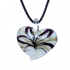 Fashion Lampwork Murano Glass Flowing Gold Heart Flower Necklace Pendant Jewelry Hot Rotating Black