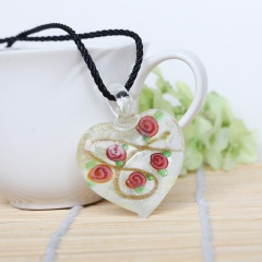 Fashion Lampwork Murano Glass Flowing Gold Heart Flower Necklace Pendant Jewelry Hot Gold White