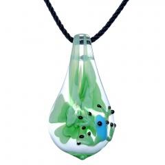 Waterdrop Inner Flower Frog Glass Necklace Green