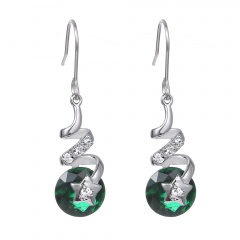 Green Diamond Pentagram Swirl Ear Hook Earrings Jewelry green