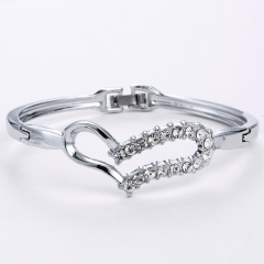 Rinhoo Korean Style Romatic Heart Rhinestone Crystal Bangle Chic Lovely Bangles Women Girl Charm Bracelets Gifts Fee shipping heart