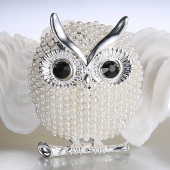 Rinhoo Pearl Brooches Owl Animal Brooches For women Party Accessories wedding Decoration Jewelry Brooch Silver