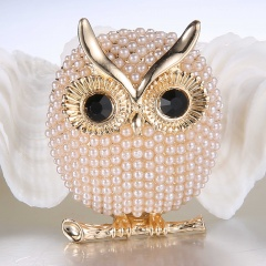 Rinhoo Pearl Brooches Owl Animal Brooches For women Party Accessories wedding Decoration Jewelry Brooch Gold