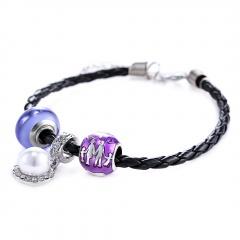 Rinhoo Handmade Fashion Cute Glass Sister Grandma Mom Pearl Charms Family Gift Love Infinity Leather Bracelets family