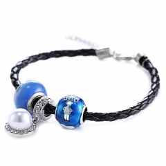 Rinhoo Handmade Fashion Cute Glass Sister Grandma Mom Pearl Charms Family Gift Love Infinity Leather Bracelets dad