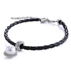 Wraps Leather Bracelet White Freshwater Pearls Bangle Jewelry for Girls Gift black