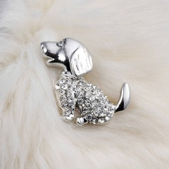 Rinhoo Lovely Crystal Rhinestone Dog Brooch Pins Animal Brooches for women jewelry stainless steel brooch Lucky Dog Accessories dog