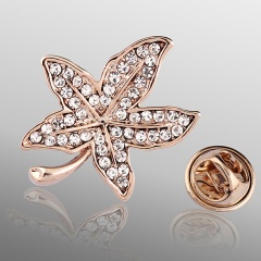 Fashion Rose Gold Alloy with Rhinestone Small Cute Brooch Pin Jewelry for Women Leaf
