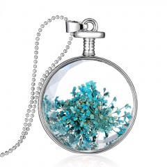 Fancy Dandelion Seeds Dried Flower Glass Bottle Wishing Pendant Necklace Women Lace flower 1