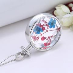 Fancy Dandelion Seeds Dried Flower Glass Bottle Wishing Pendant Necklace Charm Gypsophila Red