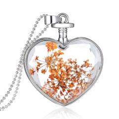 Fancy Dandelion Seeds Dried Flower Glass Bottle Wishing Pendant Necklace Charm Lace Orange