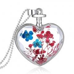 Fancy Dandelion Seeds Dried Flower Glass Bottle Wishing Pendant Necklace Charm Gypsophila Blue