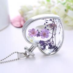 Fancy Dandelion Seeds Dried Flower Glass Bottle Wishing Pendant Necklace Charm Gypsophila Purple